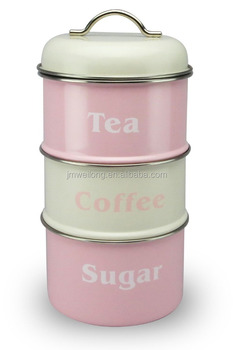 3 Tiered Metal Stackable Storage Canister Sugar Coffee Tea