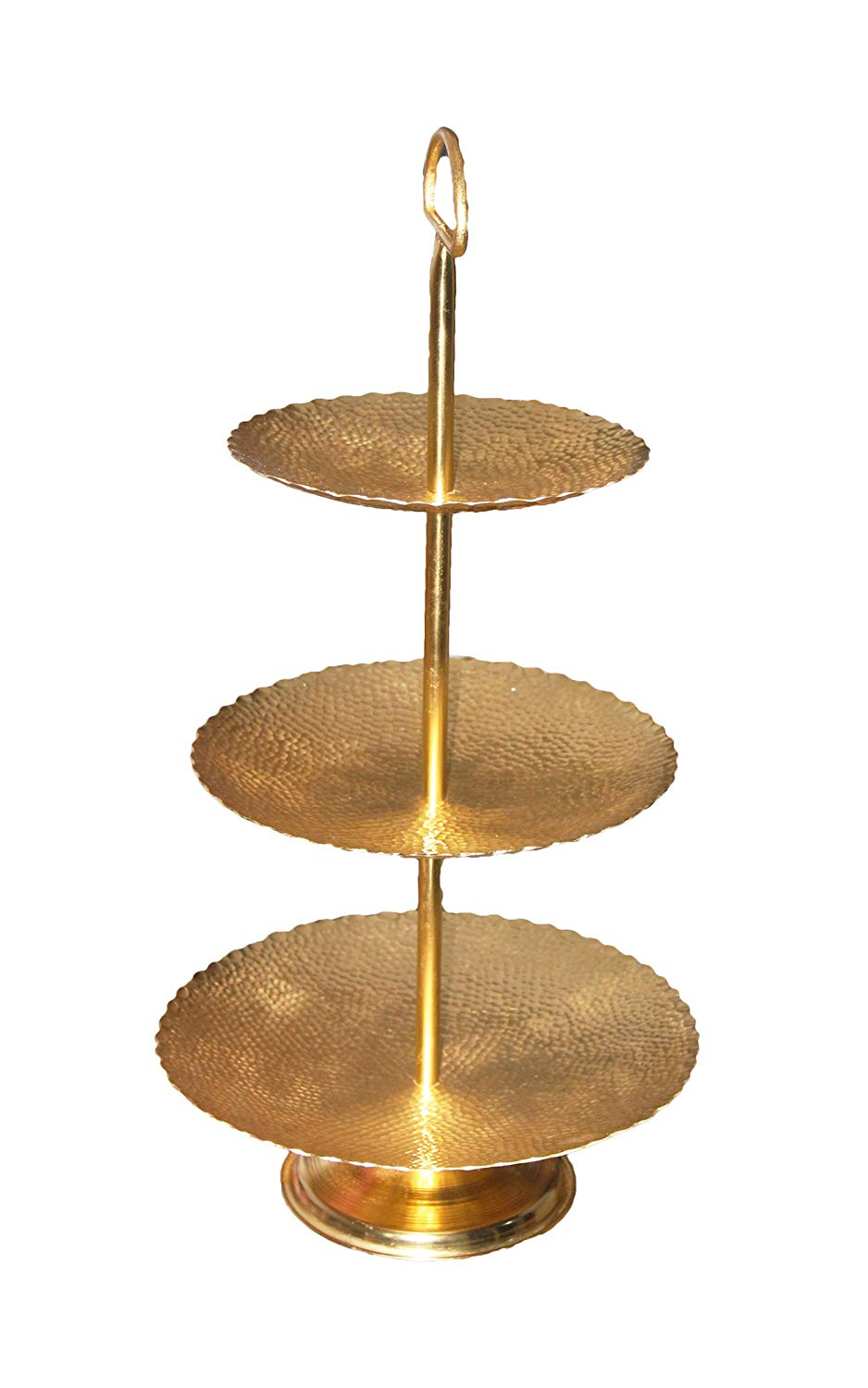 PARIJAT HANDICRAFT Three Tier Cake Stand and Fruit Plate Hammered Brass for Plates with Stand Cakes Desserts Fruits Candy Buffet Stand for Wedding &Home&Party Serving Platter
