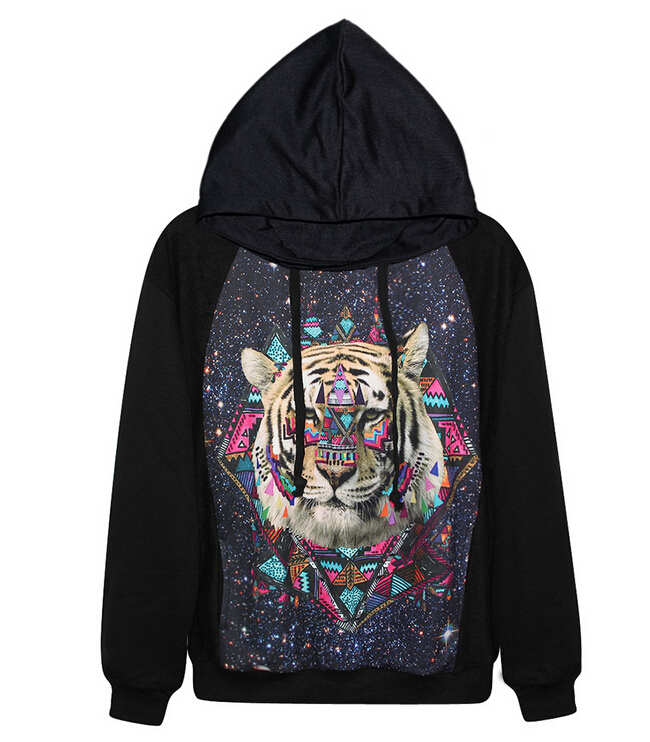 New 2015 Fashion Women Hoodies  Rock street Style Tiger  Sweatshirt  Women tracksuits suits set