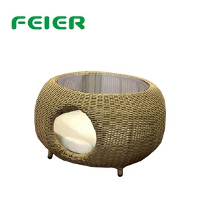 outdoor and home rattan cat house pet cages and tea table multifunction