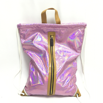 Fashion Pink holographic backpack Casual School bag Reflective Decoration Women Leisure Travel  Drawstring Shoe Bag