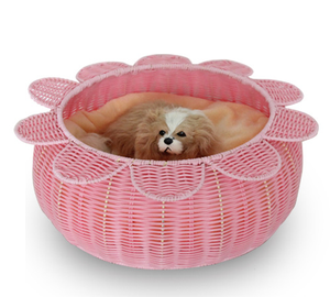 Pet Cage Flower Shape Plastic Rattan Woven Cool Dog Cat Bed