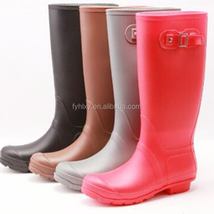 Hot sale fashion high welly boots matt finish shine women ladies kids light pvc rain boots manufacturer