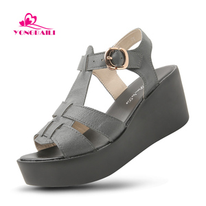 3ff3199785 Chinese Supplier handmade Summer Leather High Heels Wedges shoes Sandals  for ladies and Woman