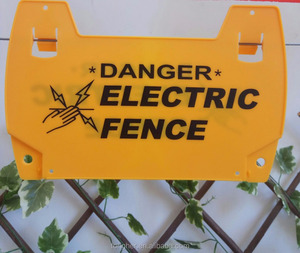 Plastic safety warning sign for electric fence