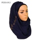 Solid Color Lace Hollow Arab Headscarf Muslim Women Cotton Hijab With Diamond Scarf