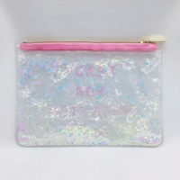 PVC liquid glitter bag, glitter clutch transparent soft PVC pouch