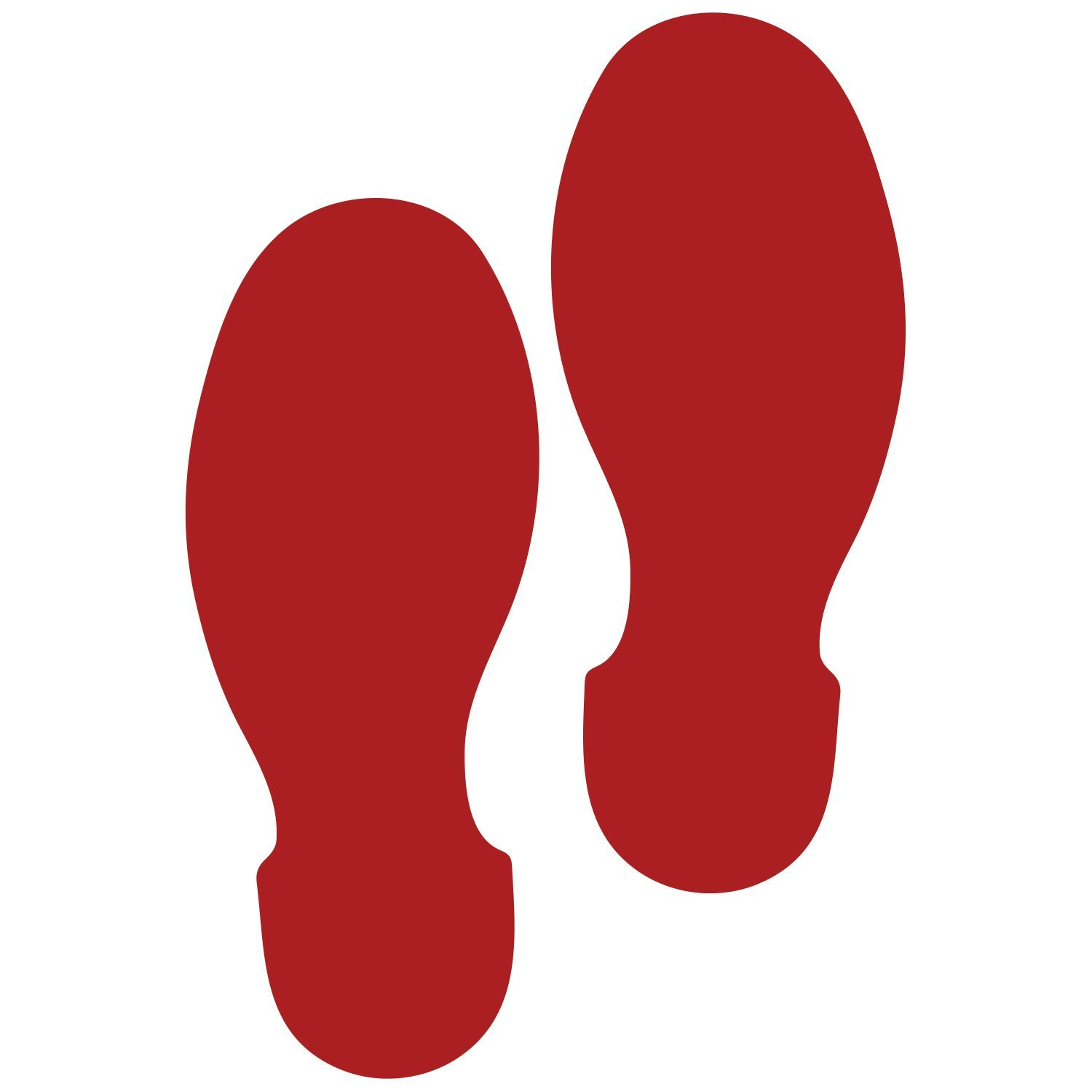 LiteMark 9 Inch Red Removable Shoe Print Decal Stickers for Floors and Walls - Pack of 12 (6 Pairs)