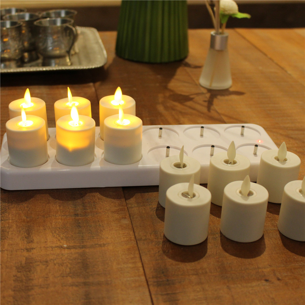 Rechargeable Moving Wick Flameless White Wax Led Tea Light