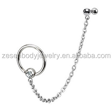 16g ear cartilage piercing body Jewelry with linked chain wholesale