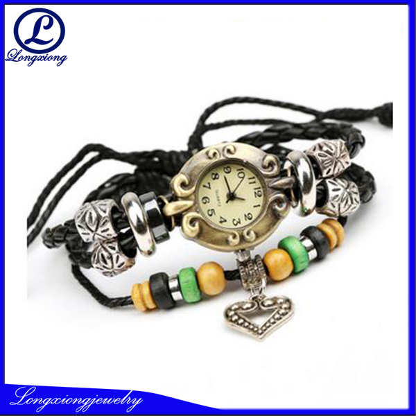 2017 Retro Ladies Watch Women Leather Charm Bracelet Wrist Watch
