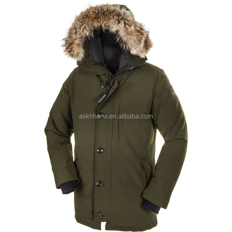 Canada style 85% polyester 15% cotton filling mens fur parka