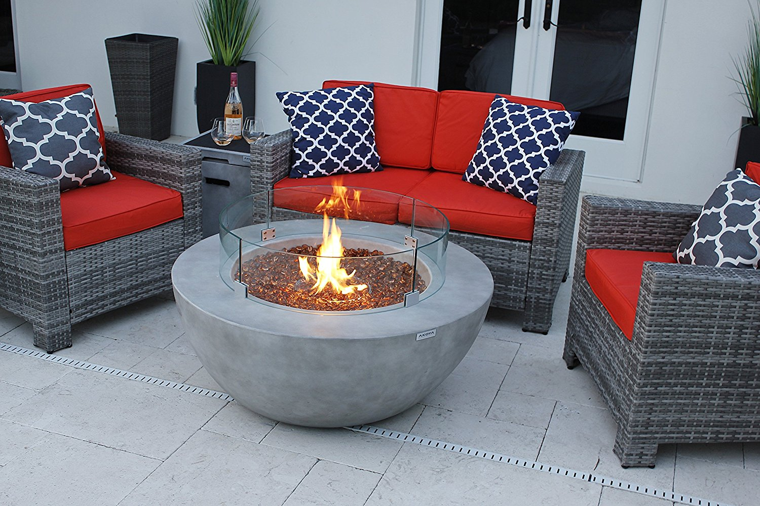 """AKOYA Outdoor Essentials 4 Piece 42"""" Modern Fire Pit Table Bowl w/Outdoor Patio Furniture Set in by (42"""" Bowl, Cobalt Blue)"""