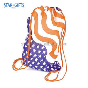 Wholesale Polyester 4th of July Event Celebration Promotional American Flag Drawstring Bag For Giveaway
