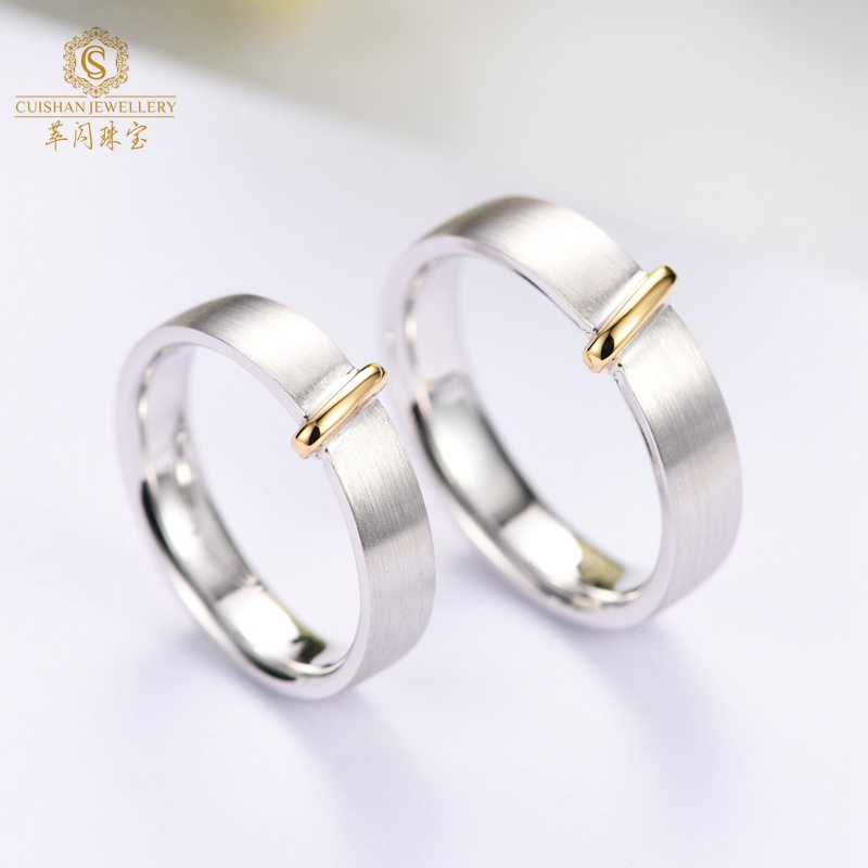 White & Rose Two Colors Solid 18K With Real Diamond Couple Gold Ring Designs For Girls