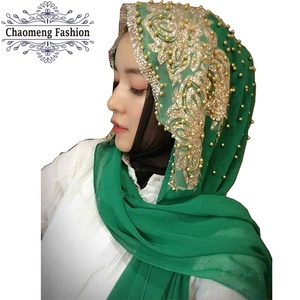 XFDZ-01# Top class ladies scarves indian gold bead chiffon scarf embroidery muslim luxury women hijab