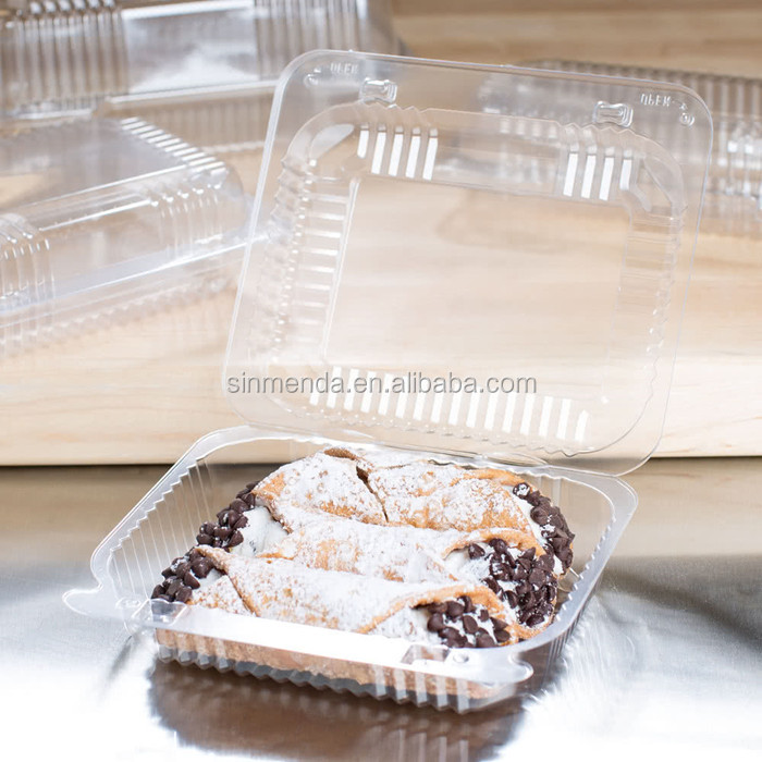 Custom PVC PET PP plastic clamshell hinged container for cake food packaging