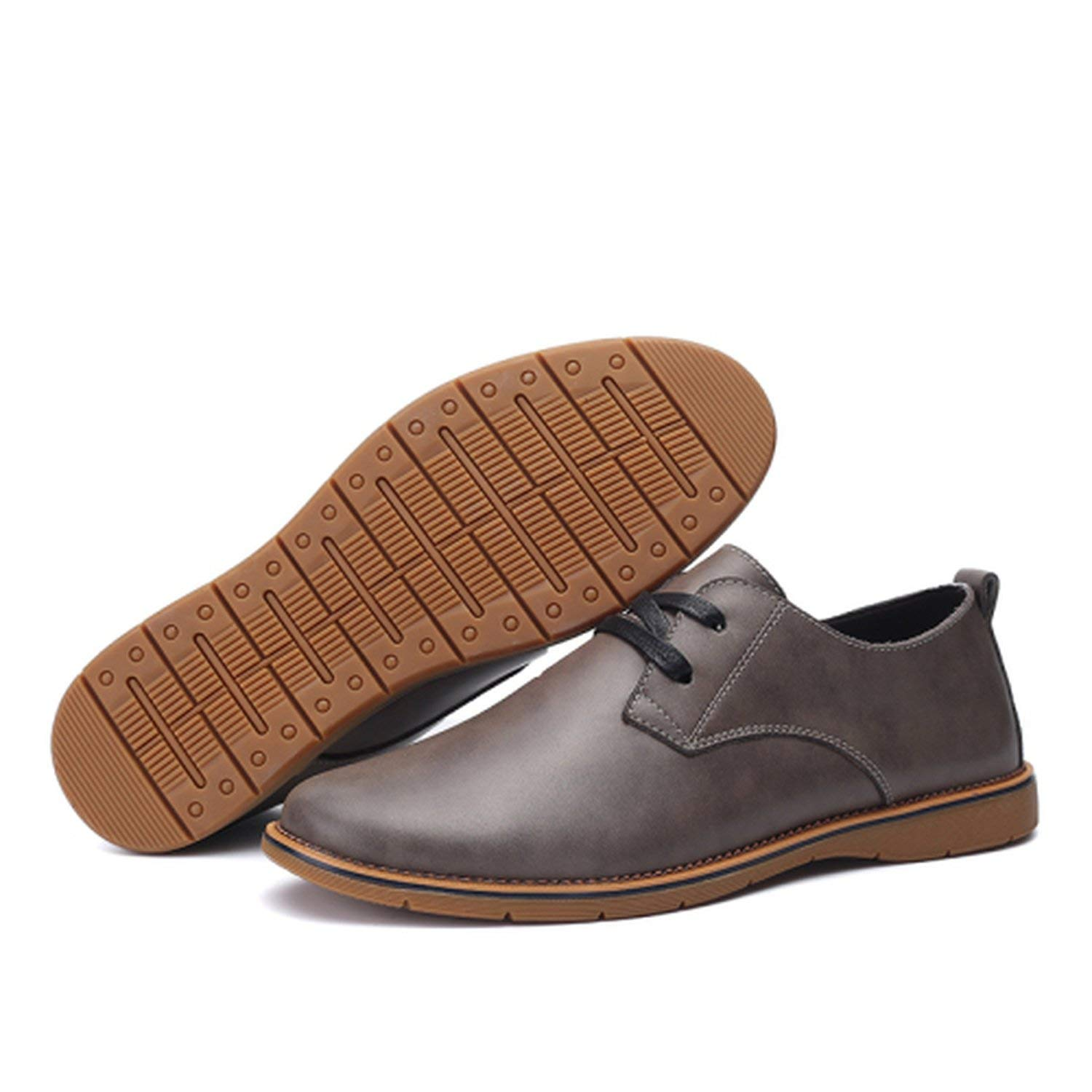 Memoriesed Men Casual Leather Shoes Winter Shoes Size 37-44 Warm Plush Lining Solid Color Man,Grey,7