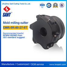 Round dowel end mill CNC Lathe Indexable Milling Cutter EMR-5R-80-27-6T Recommended Insert RPMW1003MO