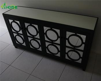 Mirror Storage Cabinet Stockton 4 Door Mirrored Buffet Black