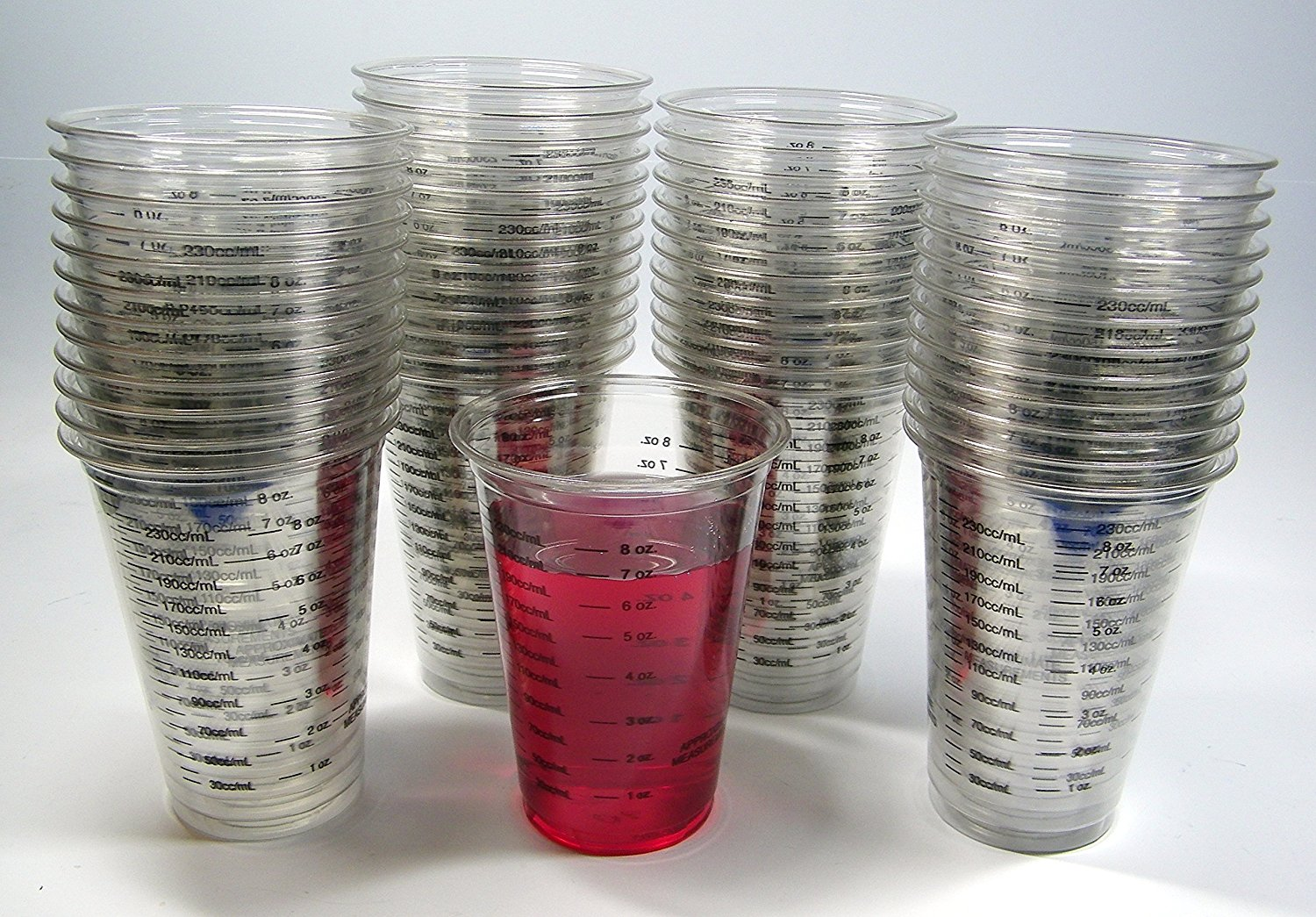 50 NSI 8oz Disposable Graduated Clear Plastic (PET) Cups for Mixing Paint, Stain, Epoxy, Resin