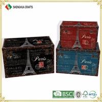 decoration wooden antique storage chest trunk,set of 3