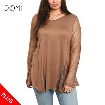 Brown Long Sleeve Knitted Tunic Tops Plus Size Womens