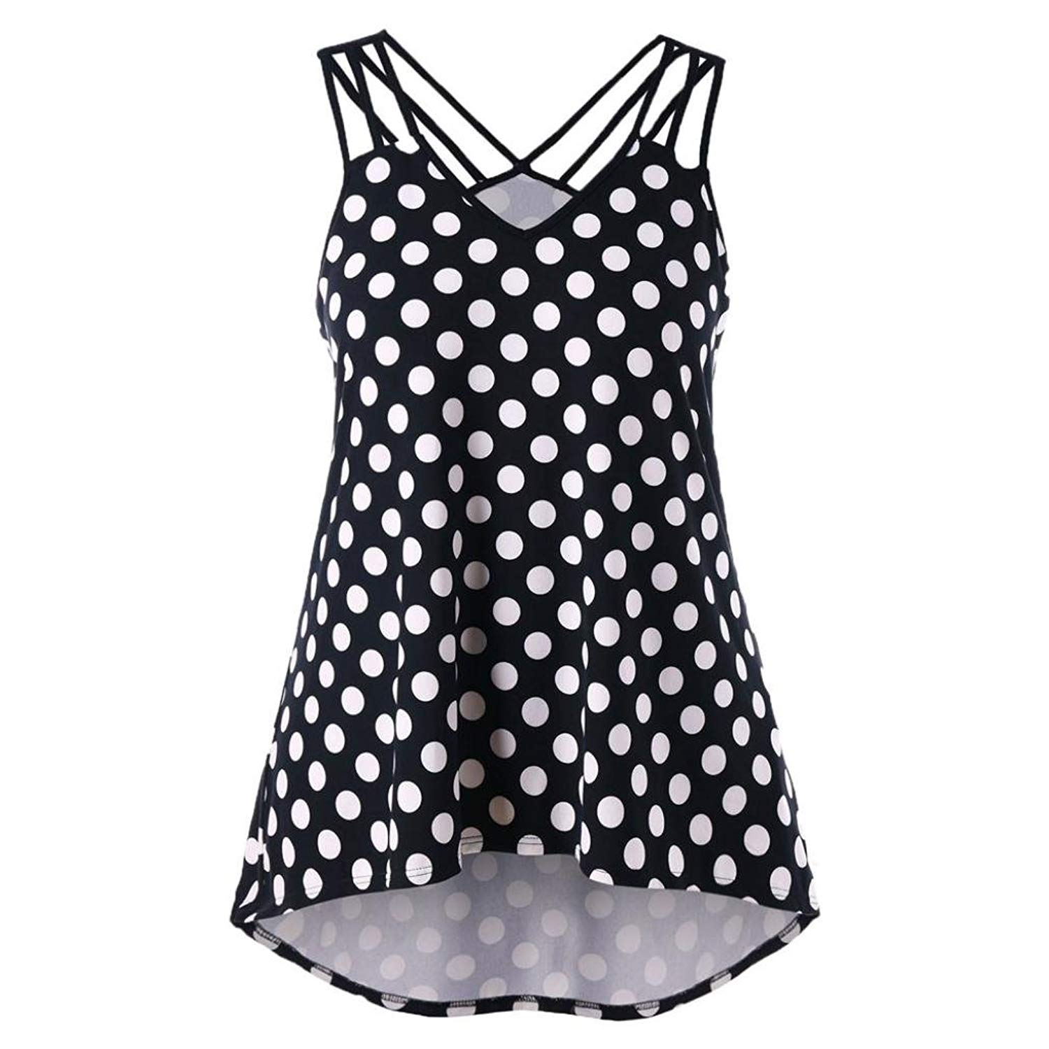 Boomboom Women Vest, Casual Women Black White Wave Point Printing Polka Dot Tank Tops
