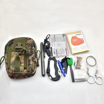 new arrivals mini emergency kit camo backpack tactical sos survival first aid kit camping tool