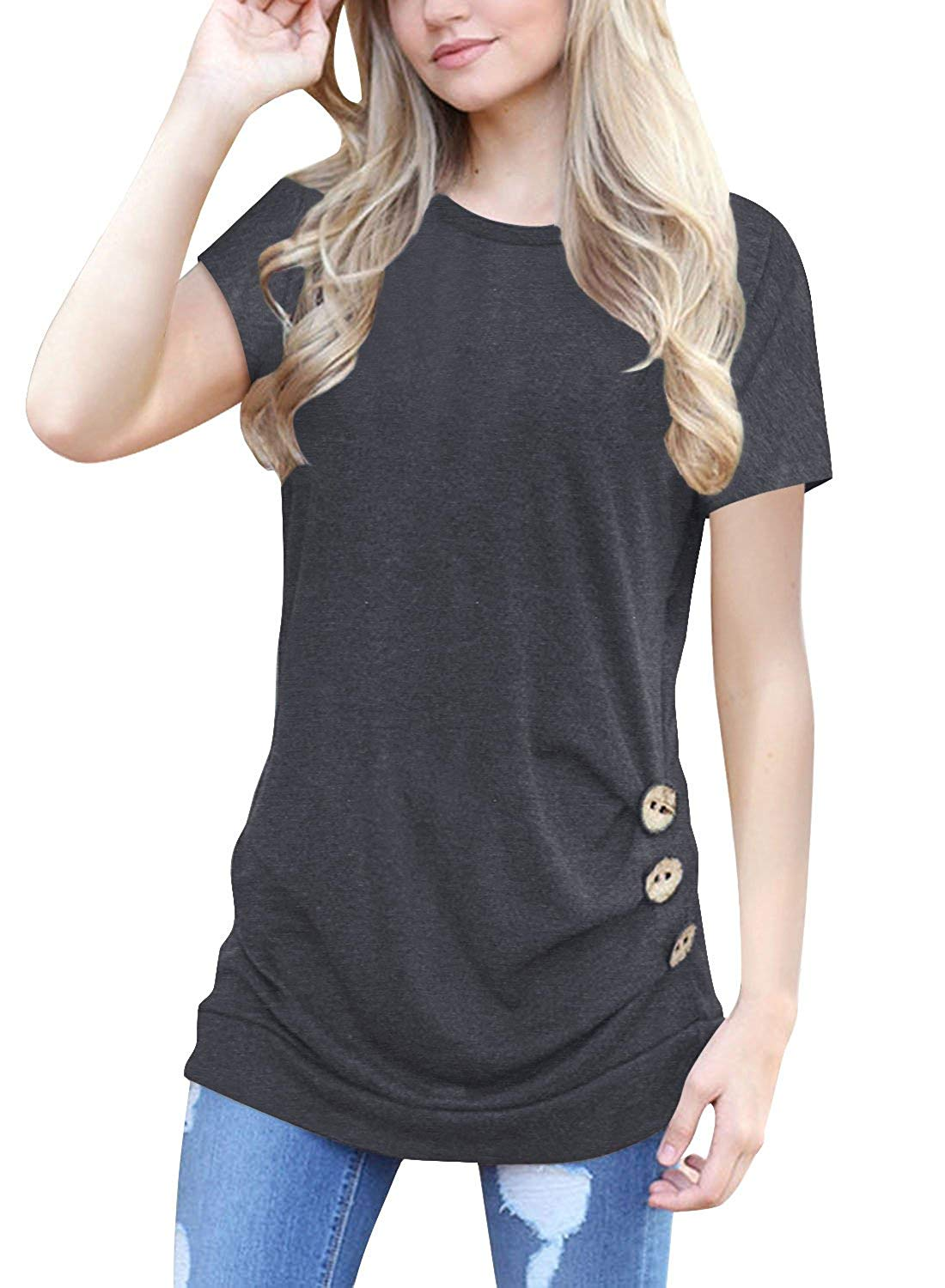7e331501091b Get Quotations · Adibosy Women's Short Sleeve Plain T Shirts Slim Fit Round  Neck Tee Shirts with Decorative Buttons