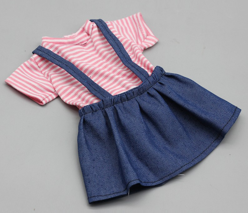 Полосатое платье на бретелях для 60 см BJD кукольная джинсовая юбка модная кукольная одежда принцессы с длинными рукавами аксессуары для кукл...(Китай)