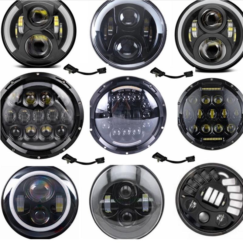 7インチラウンド50ワットモータ車ledワークライト用ジープで高ロービーム用ハーレーのオートバイledヘッドライト