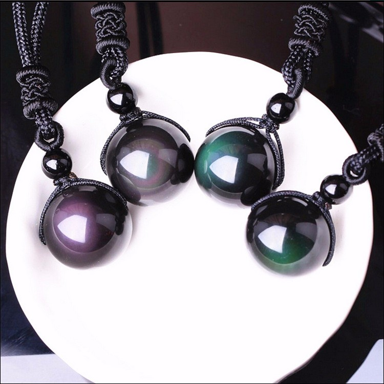 Fashion necklaces & Pendants Natural Stone For Women and Men Black Obsidian Rainbow Eye Beads Ball Transfer Lucky Love фото