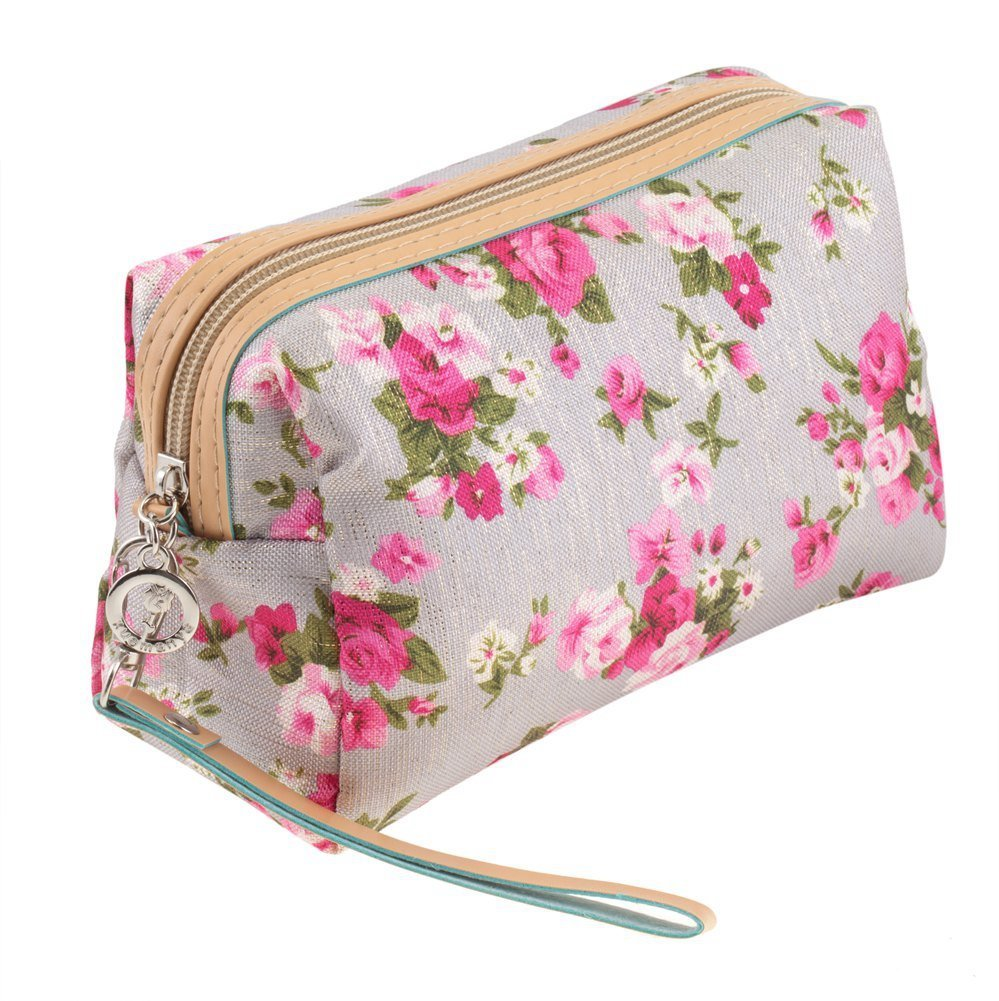 Washable And Durable, Nylon Beauty And Make Up Cosmetics Pouch / Bag / Case for Makeup Utensils And Toiletries With Pink Roses Design By VAGA