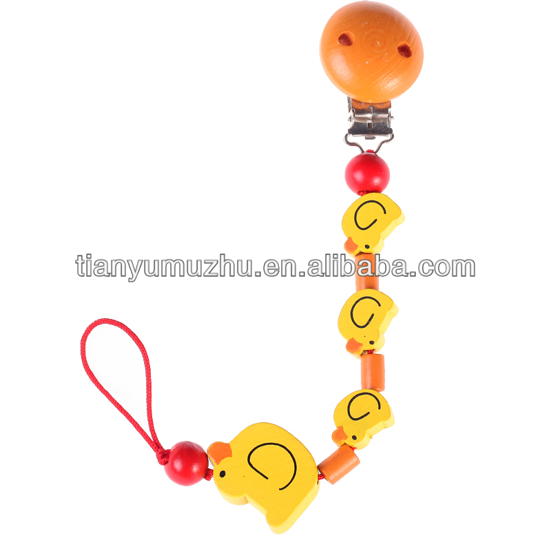 wholesale colorful wooden baby dummy chain