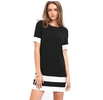 Oficina De Bloque De Color De Mini Vestidos Casuales Ropa Patchwork Blanco Negro De Cuello Redondo De Vestido De Manga Corta Buy Vestido De
