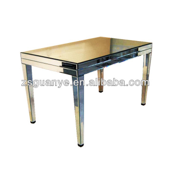 New Design Simple Style Silver Mirrored Narrow Long Mirrored Dining - Silver mirrored dining table