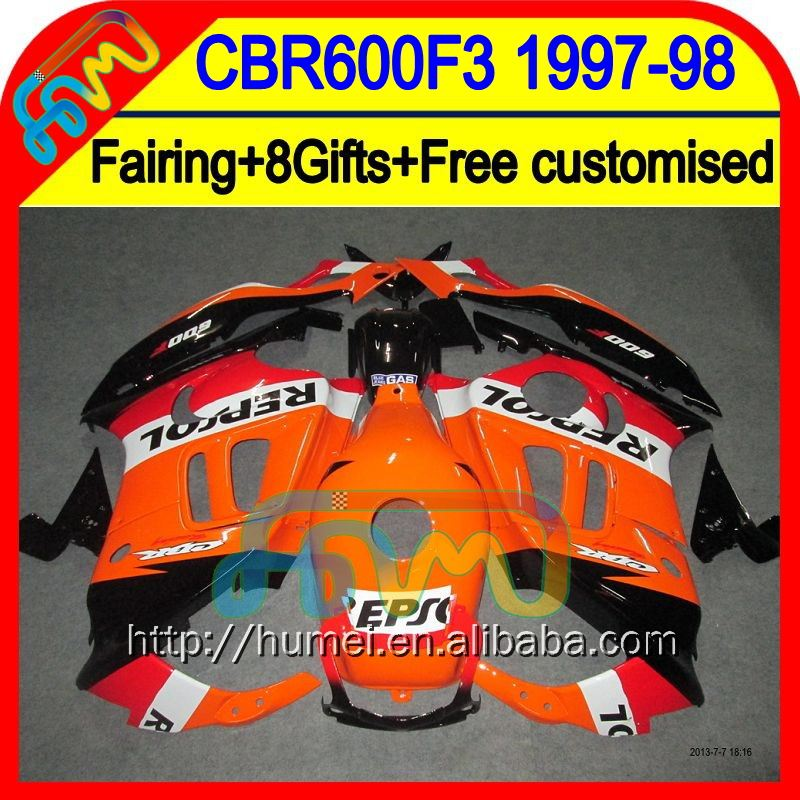 +Tank+ Red black For HONDA CBR600F3 97-98 CBR 600F3 Repsol orange CBR600 F3 20LC58 CBR 600 F3 1997 1998 CBR600RR 97 98 Fairing