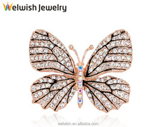 New China Factory Supply Custom Women Crystal Butterfly Brooch Pin