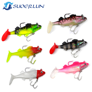 wholesale 37g 20g 10g soft plastic fishing lures swim bait 3D eyes jigs lure artificial bait