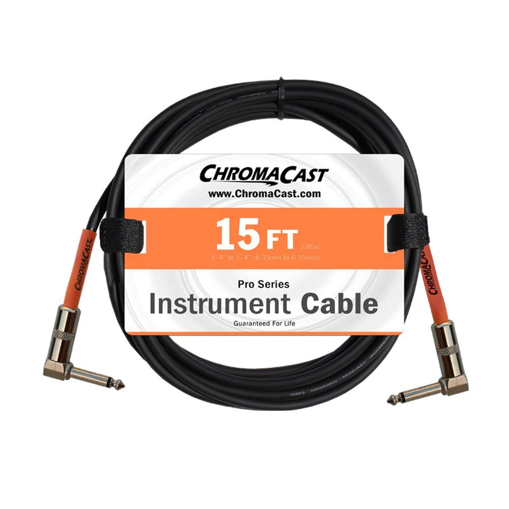 ChromaCast Pro Series Cables CC-PSCBLAA-15SOR Sunset Orange 15-Feet Pro Series Instrument Cable