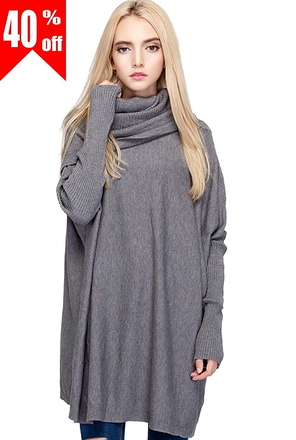 ASWear NellBang Women's Winter Knit Pullover Sweater Cowl Neck Oversized with Long Bat Sleeve