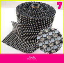 Black Mesh Plastic Rhinestone Ribbon Roll Mesh With Diamond For Dress