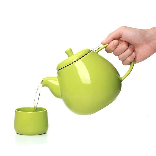 1300ml high quality green ceramic teapot with infuser multicolor