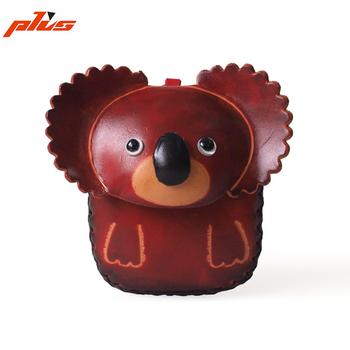 Mignon porte monnaie mini sacs en cuir de tannage végétal koala animaux en forme de