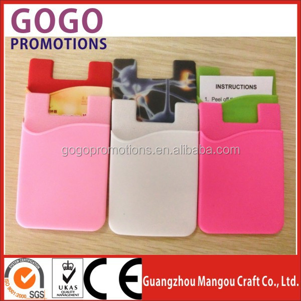 Different custom design logo silicone rubber credit card holder mini 3m sticker silicone smart wallet
