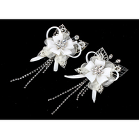 White flowers a pair of hair clip white bow tie wedding headwear