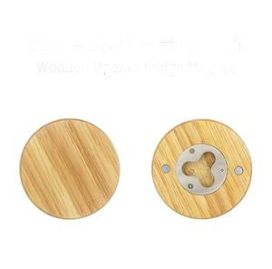 Latest Wooden Round Shape Bottle Opener Coaster Fridge Magnet Decoration Beer Bottle Opener With Your Logo