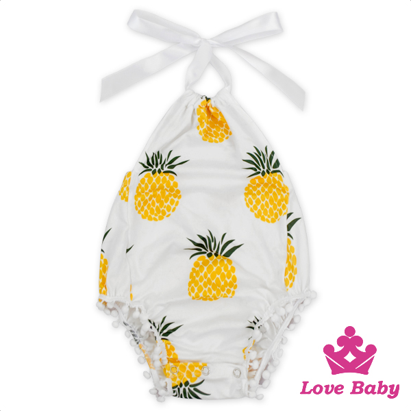 High Quality Summer Kids Clothes Organic Cotton Fruit Printed Halter Design Newborn Baby Hairboll Romper With Headband Set