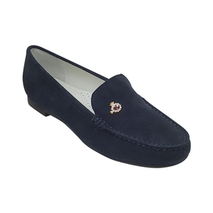 Korsvigotti dark blue classic minimalist soft suede ladies flat shoes